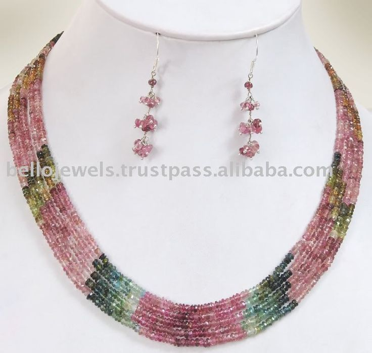 beaded jewelry | Designer Tourmaline Gemstone Necklace Set - Beaded Jewelry Wholesale ...