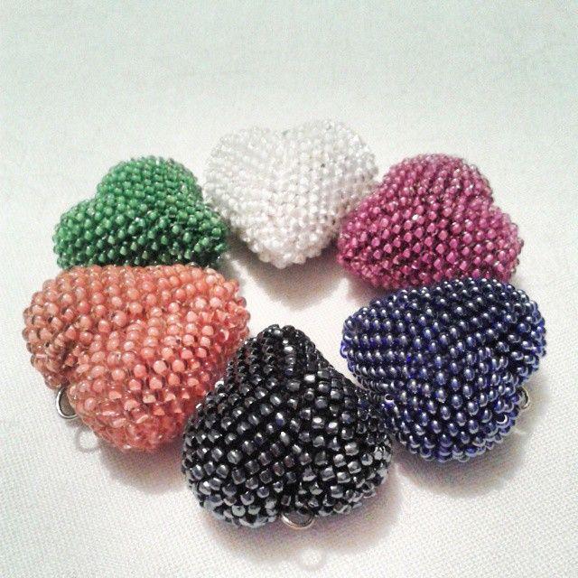 Beaded crochet heart - pendants.