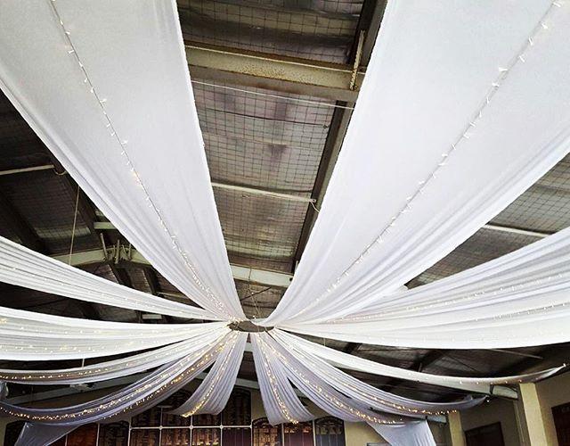 Another beautiful ceiling transformation by Fairytale Events @huntershillsailingclub #fairytaleevents #ceilingdraping #ceilingdecoration #sydneyweddings