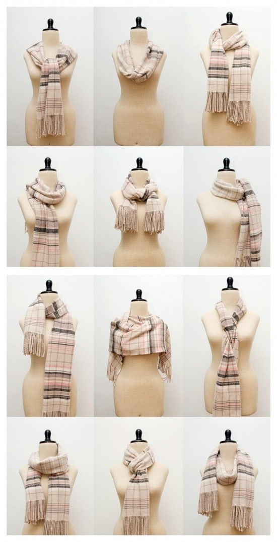 how to tie a scarf- 12 ways. and a bunch more on the link!    Great ideas for that hand knit or crocheted scarf!
