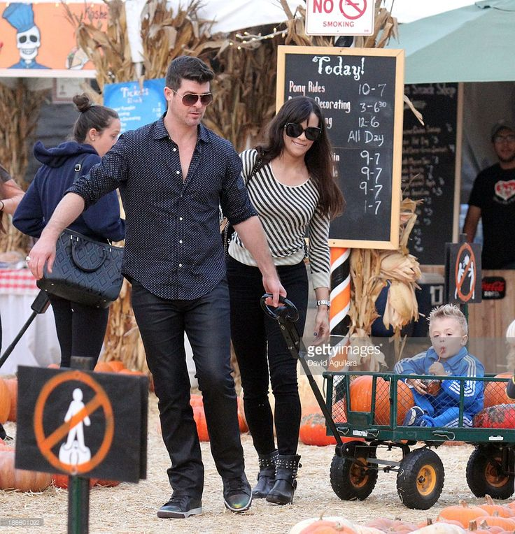 Robin Thicke and his wife Paula Patton with daughter Julian sighting on October 25, 2013 in West Hollywood, California.