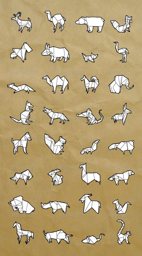 Hand-Drawn Origami Animals Set $7.00