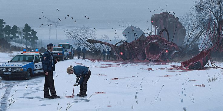 simon stålenhag's dreamy sci-fi paintings show the world after an alien invasion