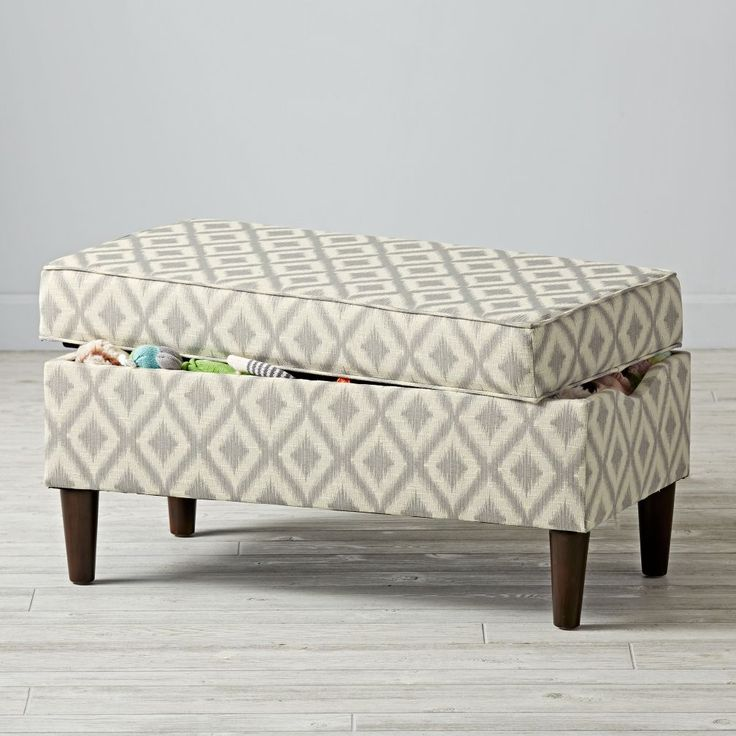Upholstered Storage Bench (Ikat Fret) | The Land of Nod