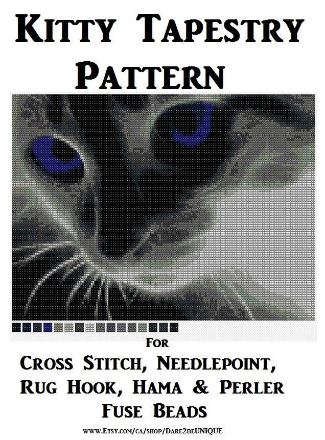 Kitten Tapestry PATTERN, Cats Cross Stitch, Needlepoint, Embroidery,  Cat Latch Hook Rug Designs, Perler Patterns, Hama Crafts, Download PDF by Dare2beUNIQUE on Etsy