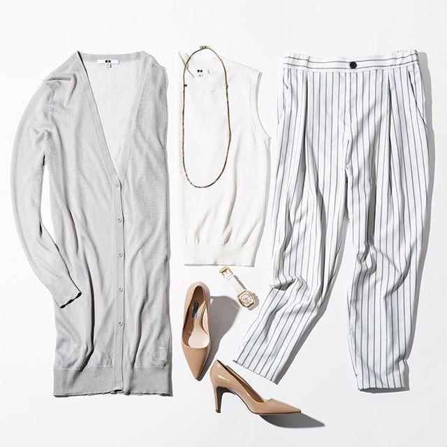 Office #wardrobe essentials. 白やライトグレーなど淡いトーンで、今年らしいクリーンで洗練されたスタイルに。 #uniqlo #uniqlolifewear #simplemadebetter #uniqloflatlay #office #essentials #fashionessentials #style #classyandfashionable #classicstyles #ootd #coordinate #uvcut #ユニジョ #通勤コーデ #仕事コーデ #オフィススタイル #オフィスコーデ #スカートコーデ #大人コーデ #シンプルコーデ #大人シンプル #上下ユニクロ #毎日ユニクロ #ワントーンコーデ ライトvネックロングカーディガン: 168543 #uvカット ノースリーブセーター: 174696 イージー#ジョガーパンツ : 179256