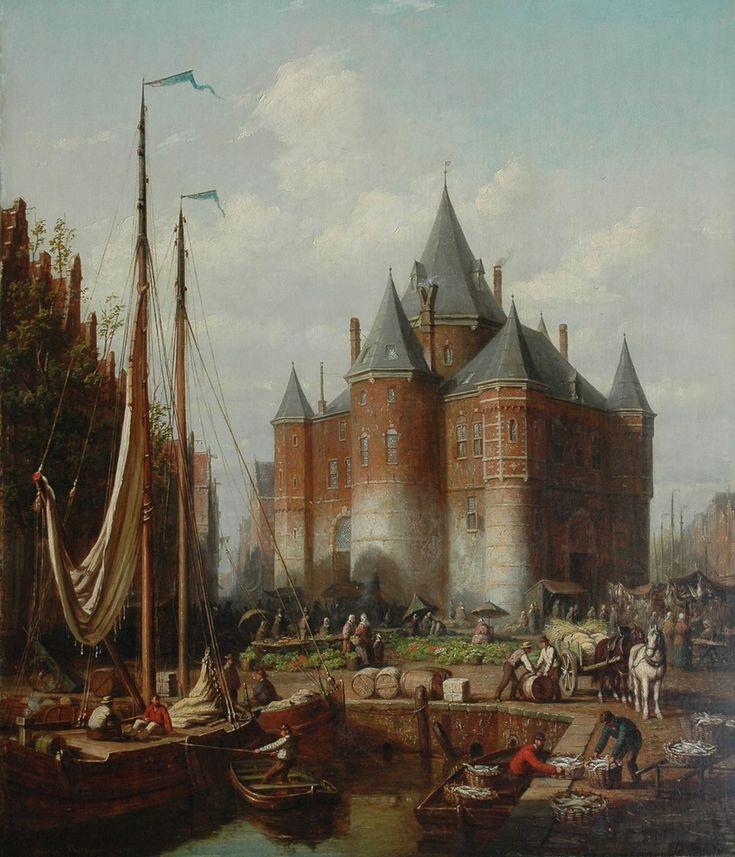 Scheerboom A.  | Andries Scheerboom, Levendige havenscène met markt en de Amsterdamse Waag, olieverf op doek 81,5 x 70,5 cm, gesigneerd l.o. en gedateerd 1871