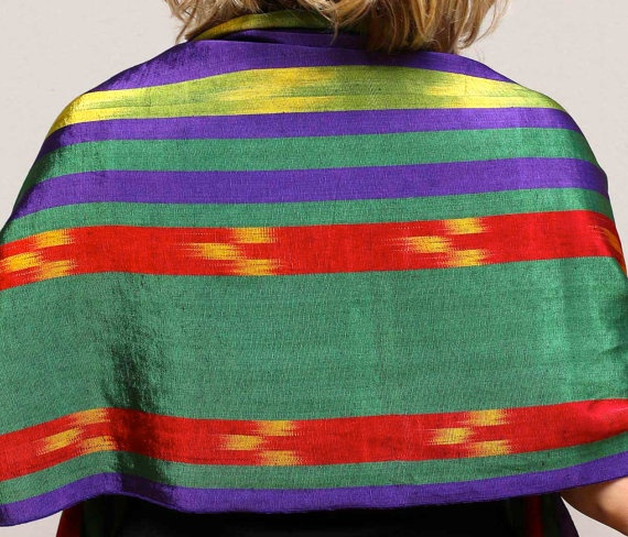 Silk and cotton Handwoven scarf Gorgeous and by ShawlsandtheCity, $60.00