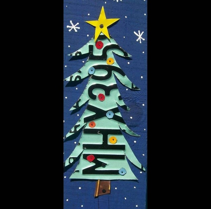 Funky Primitive Christmas Tree - Recycled License Plate Art - Salvaged Wood - Upcycled Artwork. $69.00, via Etsy.