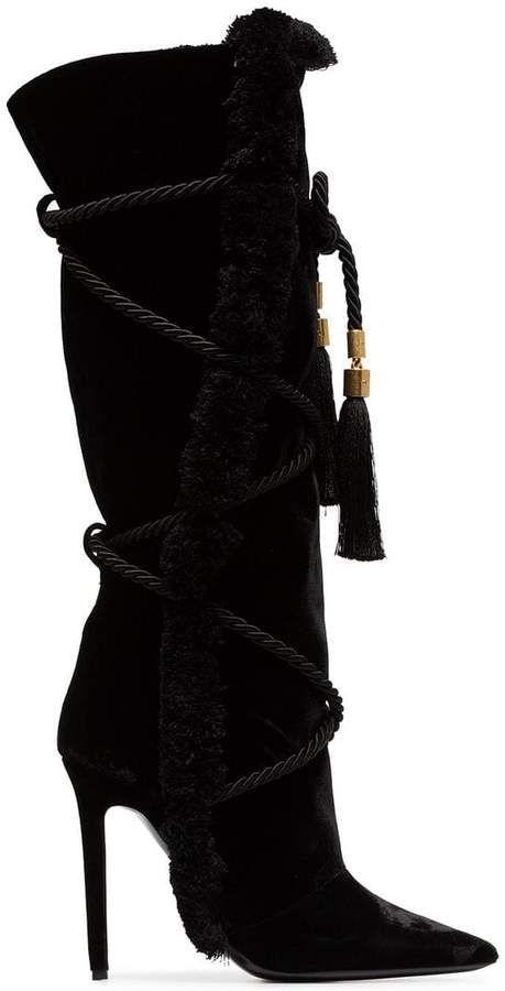 5569b46c28e Versace Black Pillow Talk 110 Braided Velvet Knee High Boots ...