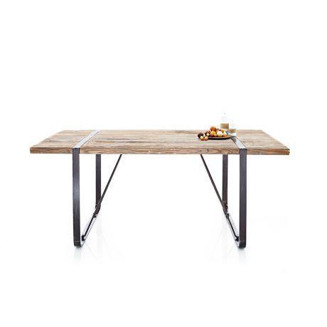 Esstisch, dekorative Tischplatte, rustikal, Dattelholz und Metall Vorderansicht