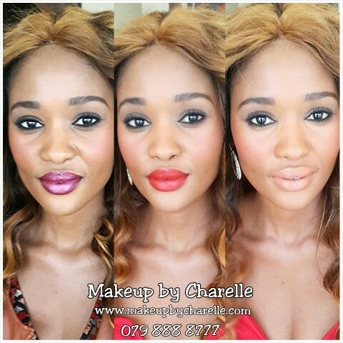 3 Lip Colours changing up one look on gorgeous caramel skin. Makeup by Charelle. Facebook.com/MakeupByCharelle