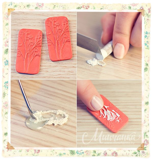 polymerclayfimo: Tutorial - Making a stamp with floral ornament and earrings out of it.  She then mixed gel with clay and rubbed on baked clay.