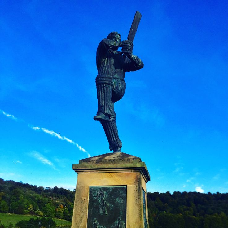 The Batsman. A sculpture by Gerald Laing, overlooking The Cricket Ground at Wormsley