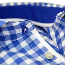 Blauw-wit geruit overhemd. Wit biesje, veel positieve reacties. Modern Fit, 100%katoen. #overhemd