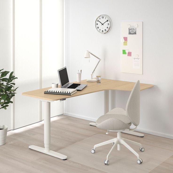 Bekant Ecktisch Rechts Sitz Steh Eichenfurnier Weiss Lasiert Weiss Ikea Deutschland In 2021 Schreibtisch Weiss Schreibtischideen Schreibtisch
