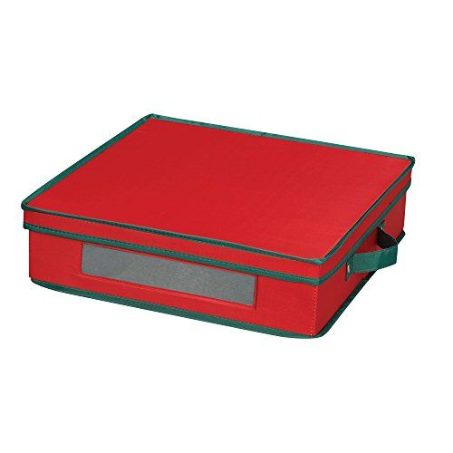 Store holiday dinnerware safely in this polyester canvas storage chest from #Household #Essentials.  This chest is designed to hold charger plates.  It is red in ...