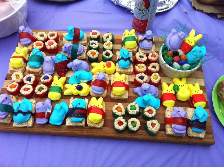 peep sushi! cute, but they have gelatin so I won't make them. But ...