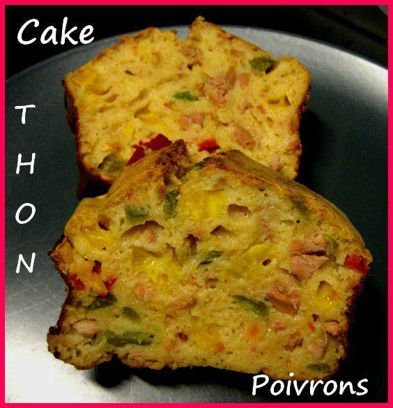CAKE THON / POIVRONS / PARMESAN (lait concentré non sucré, oeufs, farine, levure, huile d'olive, thon, poivrons, parmesan, sel, poivre)
