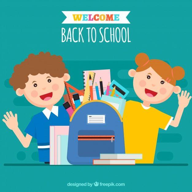 Smiley children with backpack full of school material #Free #Vector  #School #Book #Design #Children #Education #Paper #Cartoon #Student #Smile #Happy #Study #Notebook #Flat #Friends #Boy #Backtoschool #Smiley #Students #Flatdesign #Fun