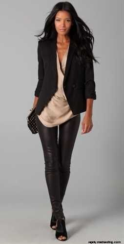 Helmut Lang stretch plonge leather leggings are a must have for the jet-setting go-getter girl!