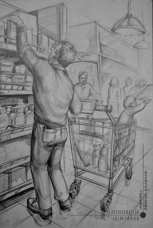 Alışveriş imgesel karakalem çizimi