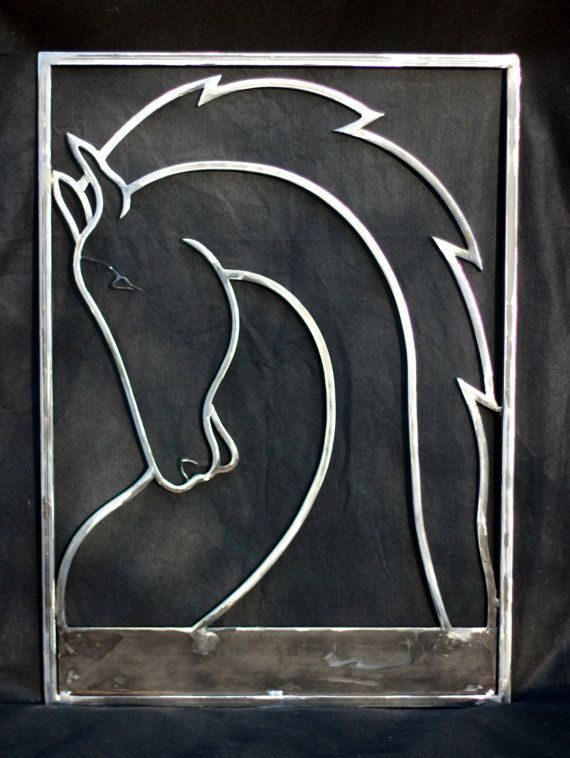 Horse Sign based on Farm Logo (Maquette), Hand Forged and Bent Steel Square Rod, 3/8 - 1/2,