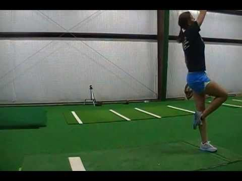 Softball pitching speed drill to develop leg drive.