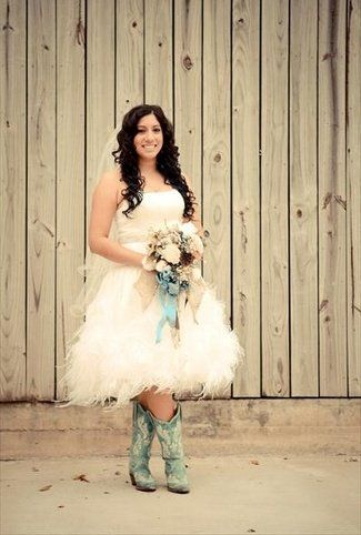 I'm in love with short pixie wedding dresses. Love the cowboy boots too! Totally want something like this for my wedding.