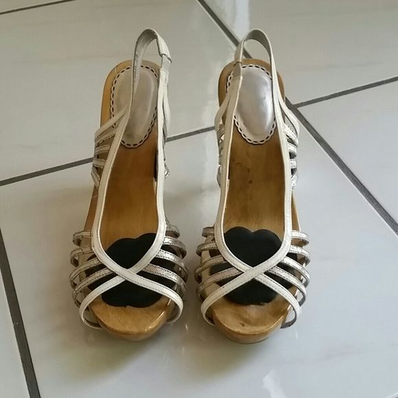Size 7 bebe heels White and silver strapped bebe retro wooden heels!!! bebe Shoes Heels