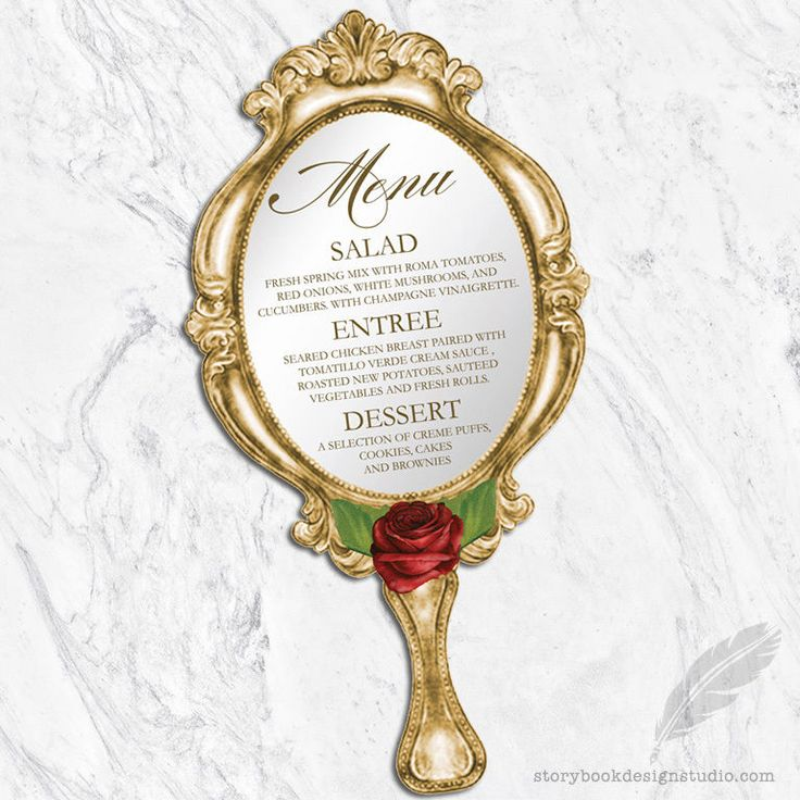 Beauty and the Beast Wedding Menus / Die Cut Hand Mirror PRINTED