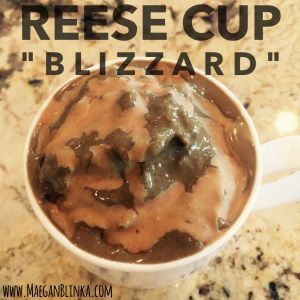 reese cup shakeology, peanut butter dessert, peanut butter and chocolate shakeology, healthy blizzard alternative, homemade clean blizzard recipe, healthy clean dessert idea, Maegan Blinka, Megan Blinka, 21 day fix approved shakeology recipe, 21 day fix approved dessert, 21 day fix meal plan idea