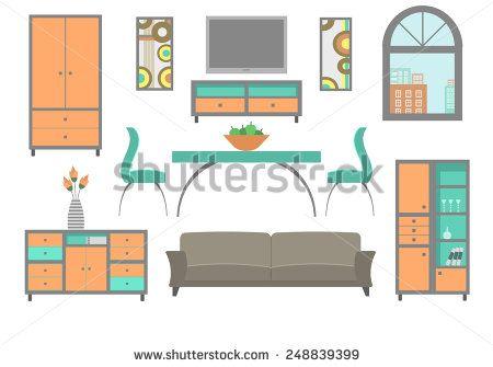 Modern Living Room Stock Vectors Vector Clip Art