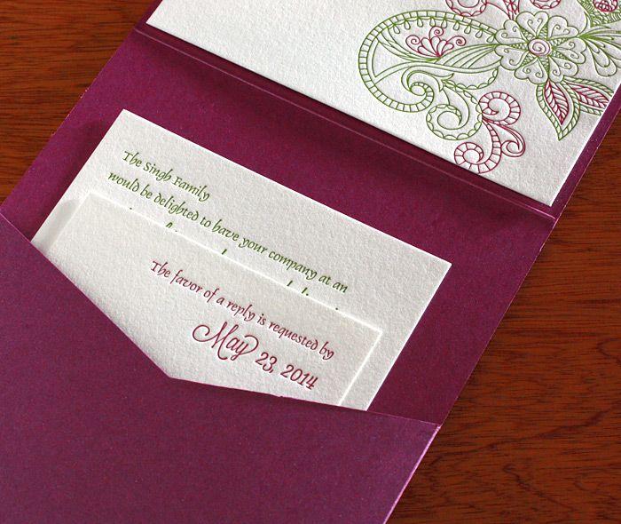 Misha indian wedding card - letterpress wedding invitation