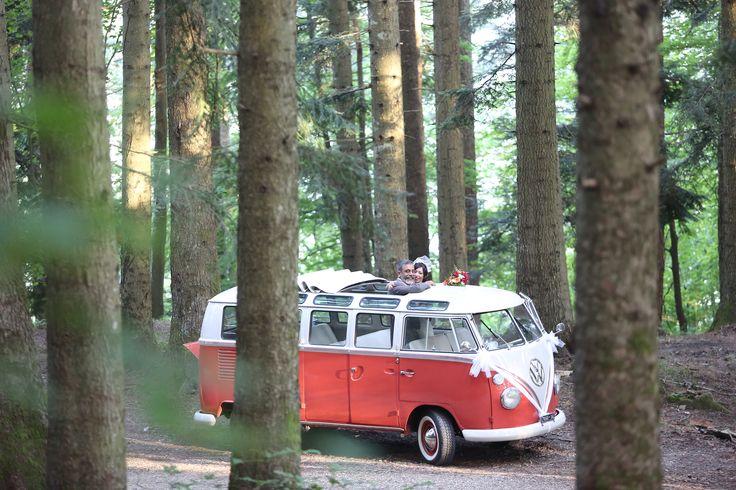 woodland wedding forest wedding volkswagen T1 samba