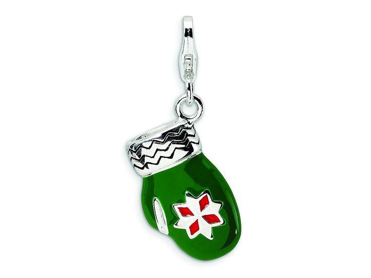 Amore LaVita Sterling Silver 3-D Enameled Green Mitten w/Lobster Clasp Bracelet Charm