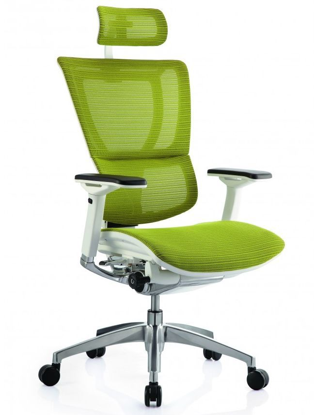 Компьютерное сетчатое кресло Mirus IOO white-green Comfort Seating с нейлоновым армированным каркасом, анатомической спинкой, адптивной поясничной поддержкой, 4D подлокотниками, адаптивным подголовником, синхро-механизмом качания с единым рычагом управления, литой алюминиевой крестовиной, протектором для твердых полов на роликах
