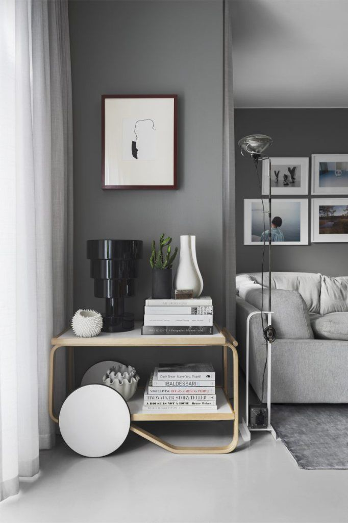 Daniel Lindström's living room in grey - via Coco Lapine Design blog