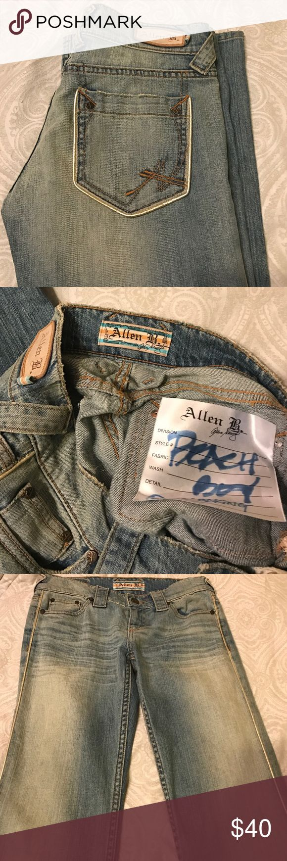 """BOGO Allen B silver trimmed jeans WOW! These jeans are amazing! Light denim with factory fading and factory distressed pockets and cuffs. No size or material tags, surely a sample. Sticker inside says """"beach boy w/ baking"""" - no idea what that is supposed to mean 😂 Seems to be a size 27 or 28. waist measurements are 14.5"""" with dip, 15.25"""" pulled straight. 8"""" rise. Inseam is 34.5"""". 9.5"""" flat cuff. Check out the rest of my closet for a BOGO sale! ABS Allen Schwartz Jeans Flare & Wide Leg"""