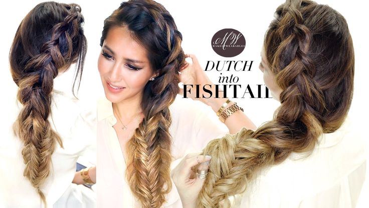 Cute messy braid tutorial video. How to do a big, side Dutch braid into a stacked fishtail braid hairstyle on yourself. Cute hairstyles!