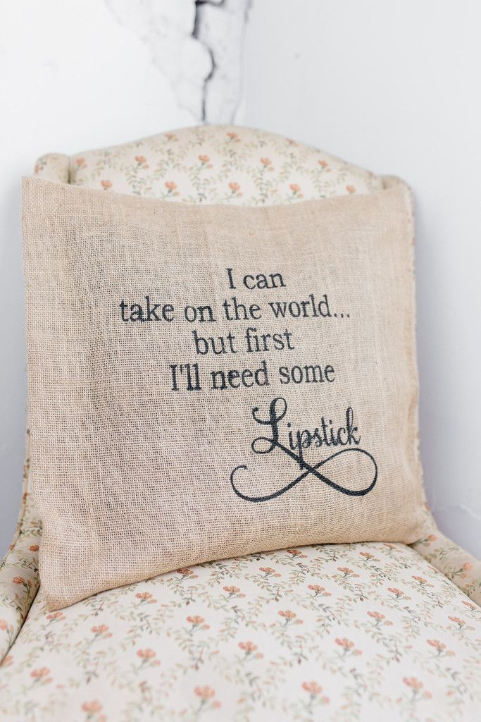 I'll Need Some Lipstick Burlap Pillow Cover $24