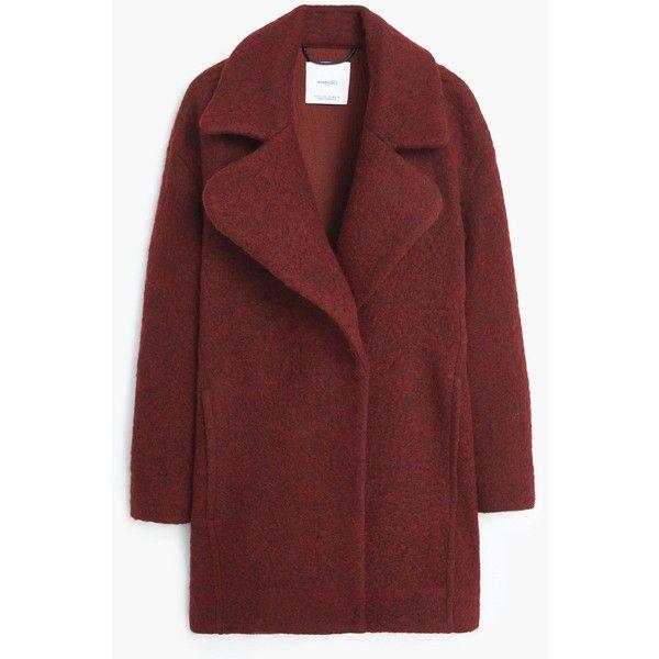 Lapels Wool Coat (13.235 RUB) ❤ liked on Polyvore featuring outerwear, coats, jackets, red coat, wool coat, long sleeve coat, mango coat et woolen coat