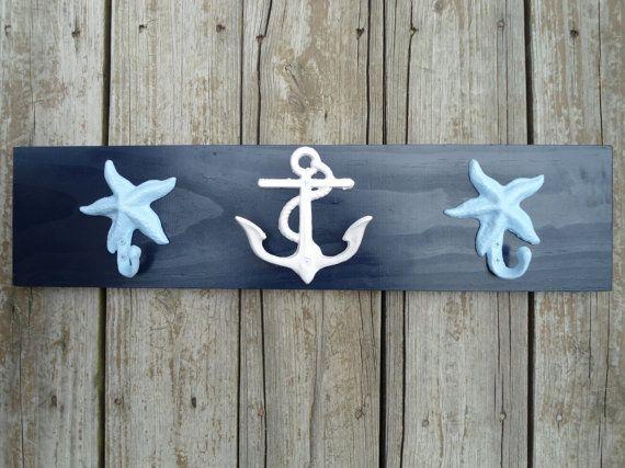 Love these towel hooks! #anchor #seashell #starfish #nautical #decor #pinparty