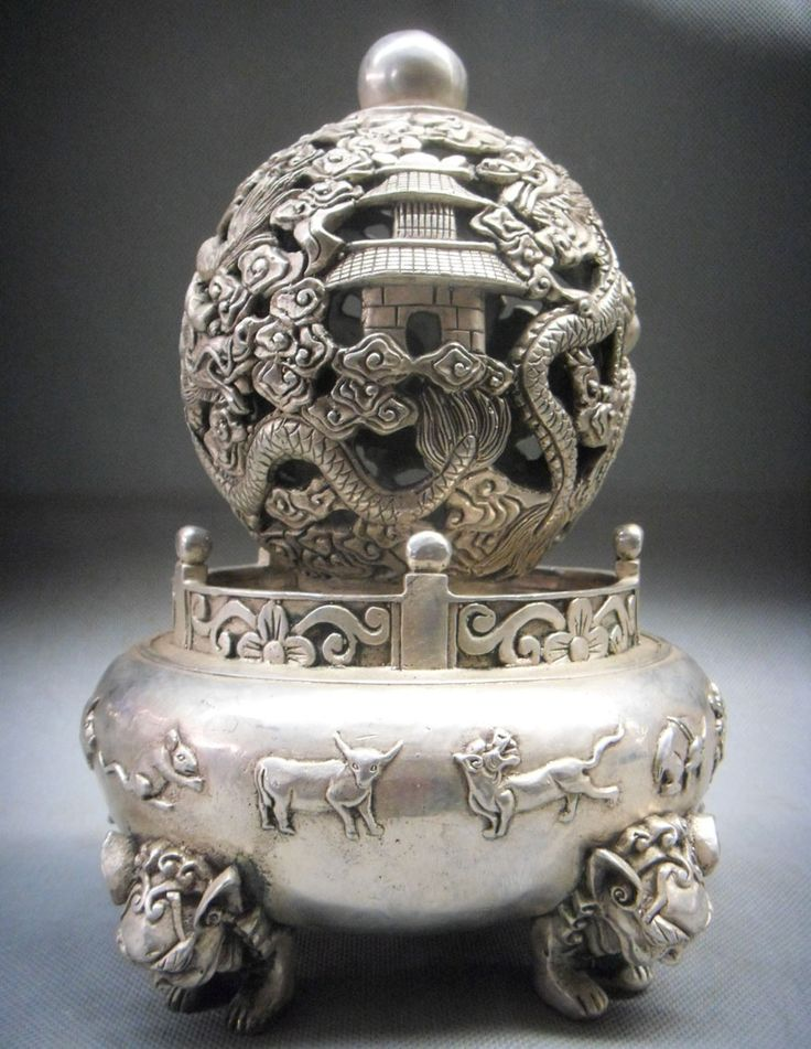 "Here is an 10"" Tibet Silver Ball Incense Burner Censer"