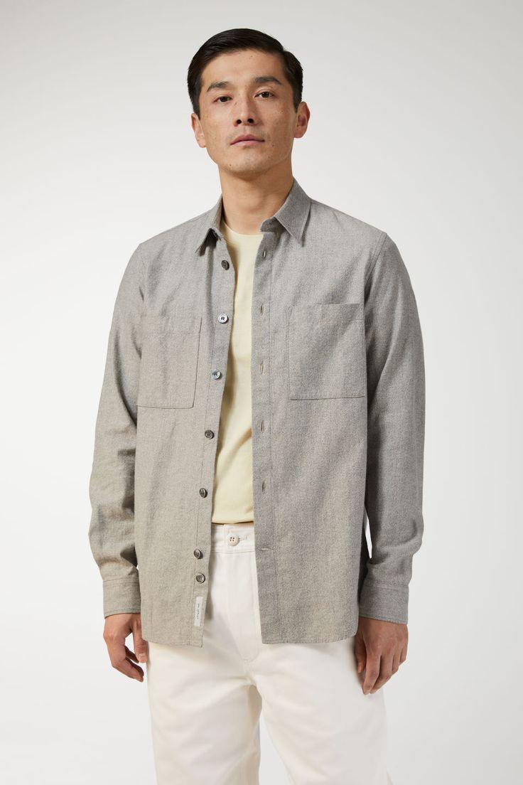 Cotton linen overshirt greyish beige shirts beige