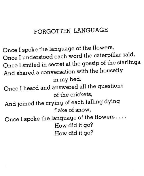 Forgotten Language -Shel Silverstein Shel Silverstein is one of my favorite children's poets..may his soul live on