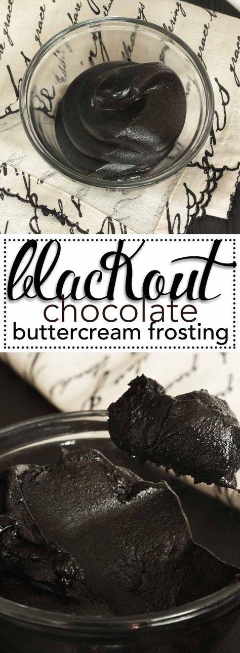 Blackout Chocolate Buttercream Frosting. The deepest, darkest, chocolate buttercream frosting ever! via @karascakes
