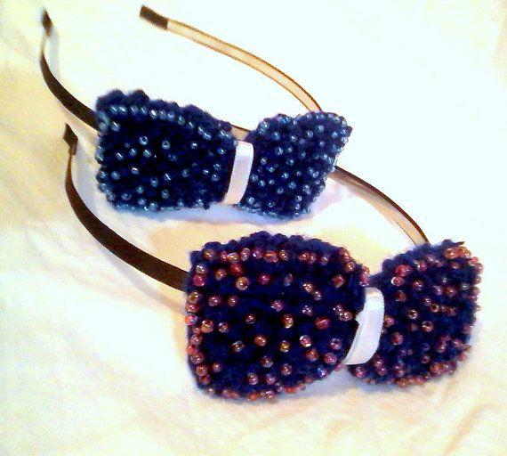 Handknitted bow headband / women/ teengirls / by KaterinakiJewelry