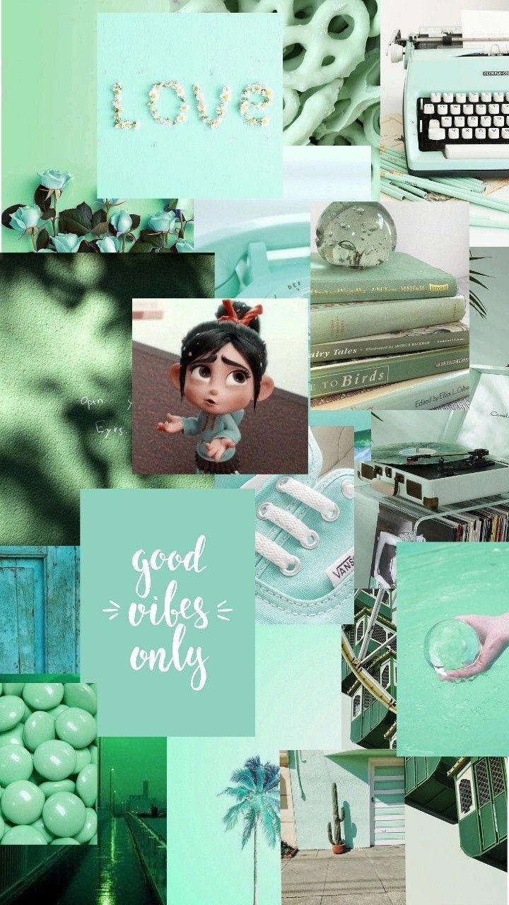 Tosca Aesthetic Tumblr Kertas Dinding Hijau Mint Hijau