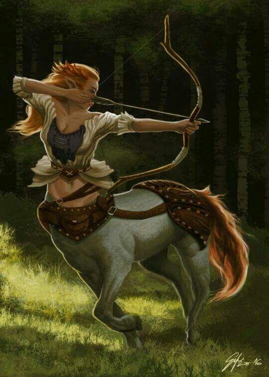 Девушка стрелец металлическая лошадь